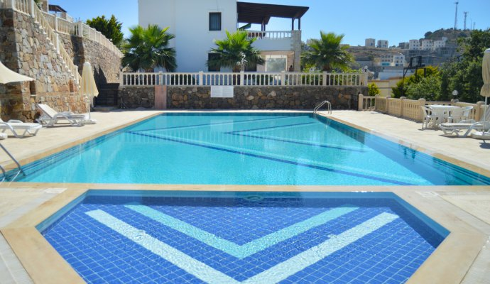 Gumusluk 2 + 1 Daily Duplex with Pool for Rent